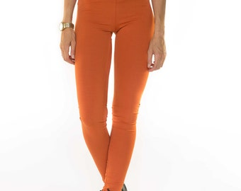 Orange legging / extra long / tights/ very strong cotton