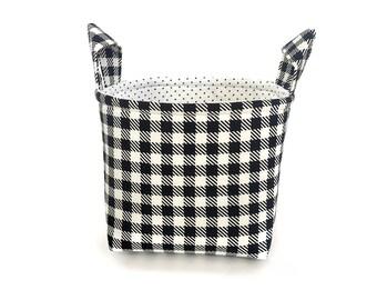 Fabric Basket Storage Bin, Fabric Basket, Black and White Checked