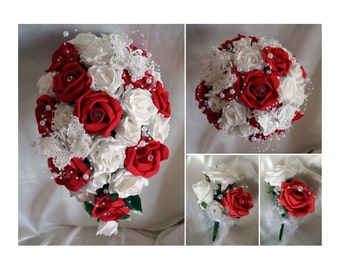 Wedding Flowers Red & White wedding bouquets with butterflies, Brides, Bridesmaids, Flowergirls etc