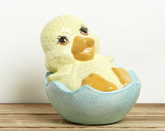 SALE Vintage Easter Chick Candy Dish - Covered Candy Dish -Easter Egg Dish