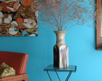 Large 14.5 Inch Monumental Handmade Studio Art Pottery Vase, Vintage Midcentury Modern 1970's