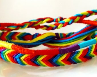 SET OF 2 RAINBOW friendship bracelets handmade!