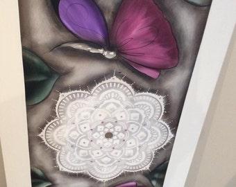 Mandala magenta purple butterflies 1200mm-600mm