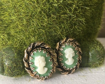 Green Cameo Clip Earrings
