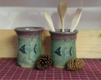 Spring green utensil holder with hand painted fish,  hand thrown pottery utensil holder, pottery tall vase,  fish pottery vase