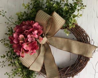 Front Door Wreaths - Spring Wreath - Hydrangea Wreath - Wreath for Door - Pretty Door Wreath