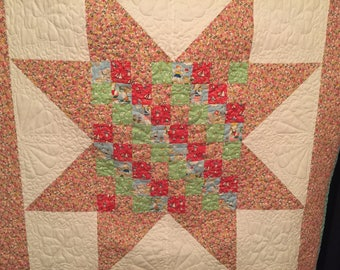 Handmade quilted large star baby quilt