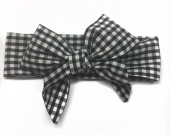 Black and white headwrap, baby headband, gingham headwrap, gingham headband, baby headwrap, baby headwraps, headwraps for babies