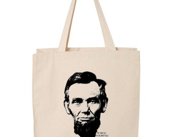 Abe Lincoln Canvas Tote Bag Screen Print Grocery Tote Abraham Lincoln Land of Lincoln Southern Illinois Silkscreen Tote Bag Purse Carry All