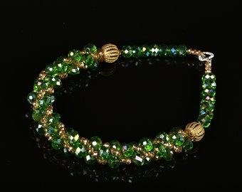 Green emerald beaded necklace, African