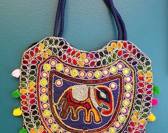 Banjara hobo bag tote bag shoulder bag India elephant fringe purple bag