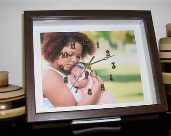 Family Room Decor, Custom Clocks, Photo Clock, Wall Clock, Office Clock, Desk Clock, Mommy & Me, Unique Clock, Personalized Anniversary Gift