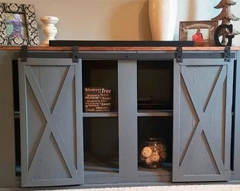 Rustic reclaimed shabby chic sliding barn door entertainment center (contact for shipping quote)