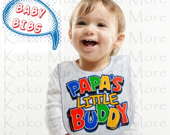 BABY BIBS,Papa's Little Buddy,baby clothing, food, babies, infants