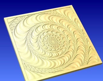Swirl art wall hanging or background design in 3d vector art for cnc projects or sign carving patterns in stl file format