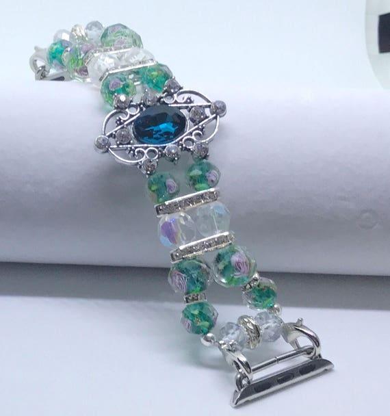 """Apple Watch Band, Women Bead Bracelet Watch Band, iWatch Strap, Apple Watch 38mm, Apple Watch 42mm, Emerald Green Pink Size 6 1/2"""" - 6 3/4"""""""
