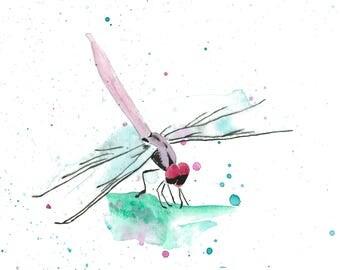 Dragonfly watercolor print. Fine art print