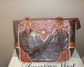 American West Purse Handbag Tote Tan/Brown Leather Cowgirl Southwestern Style