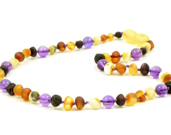 Amber Teething Necklace for Baby or Child, Genuine Baltic Amber / Amethyst Beads, Teething Relief, 28-32 cm , Safety Knotted , B0194U