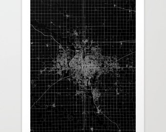 WICHITA map Kansas KS | Wichita Painting | Wichita Art Print | Wichita Poster | Wichita art