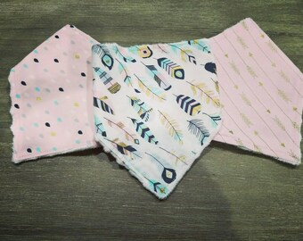 Baby girl bandana bib set