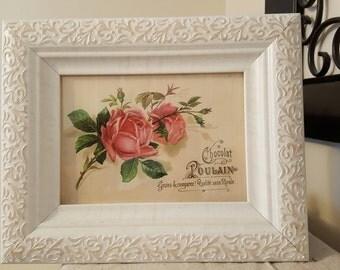 Framed Rose Print, Rose Print, Framed French  Print,Bedroom Decor, Framed Paris Print, Kitchen Decor, Girls room Decor,Table Decor