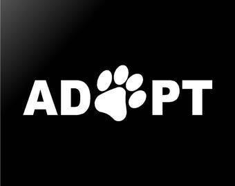 ADOPT Vinyl Decal Dog Paw Car Window Laptop Sticker