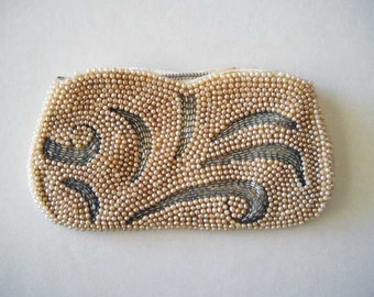 Vintage Beaded Clutch Purse Handbag