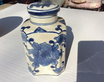 Vintage Oriental Blue White Lidded Jar