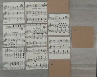 Handmade tags / Music Sheets / Music Sheet Gift Tags / Vintage Music Sheets / Handmade / Set of 10