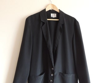 FREE SHIPPING - Vintage Marina BABINI Jean Terrier black light blazer with buttons and pockets, made in Italy, size 44