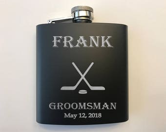Flask for Groomsmen - Groomsman Personalized Hip Flask - Groomsman Hockey Gift - Groomsmen Gifts - Hockey Flask - Groomsman Gift Flask