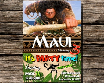 Maui Birthday Invitation Instant Download Printable Customizable Personalized Disney Moana Tropical Ocean Beach Invite 5x7