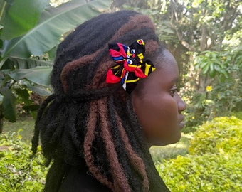 African Fabric Hair Clip, Gift For Her, Hair Accessories, Valentines Day Gift, Hair Bows, Hair Bows for Women, Alligator Hair Clip