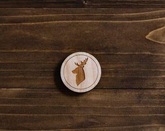 Wooden Deer Silhouette Pin - Laser Cut Pin