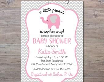 A Little Peanut Is On Her Way Invitation, Girl Elephant Baby Shower Invite, Chevron Invitation, Girl Shower Invitation, Elephant Baby Shower