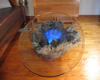 Rustic Driftwood Coffee Table With Beveled Glass Top