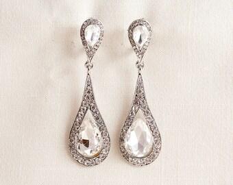 Wedding Bridal Chandelier Cubic Zirconia and Swarovski Crystal Chandelier Silver Earrings JSB10121ESilver