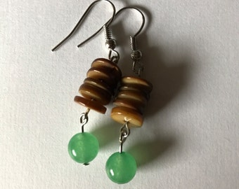 Brown and Jade Drop Earrings