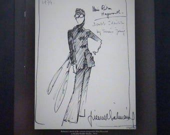 FMR1986 12 Pierre Balmain, Sketch, Rita Hayworth, Double Identity, Midcentury Fashion, Collectible