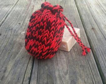 Soap saver bag, soap scrubby, knit soap saver, soap pouch, soap sack, soap saver bag, knit soap pouch, knit soap bag, drawstring soap bag