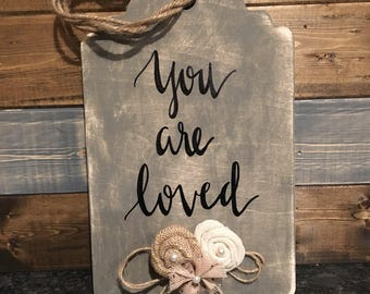 """Wooden embellished tag """"you are loved"""""""