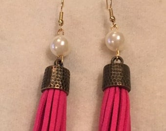 Sunrise Pink Tassel with Pearl Earrings