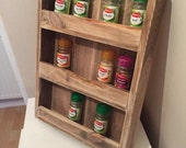 Spice rack Kitchen storage herb rack rustic wood rack Jar shelfs