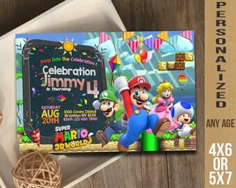 Super Mario Invitation / Super Mario Birthday / Super Mario / Super Mario Birthday Invitation / Super Mario Party Invitation / Super Mario