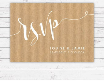 RSVP cards - Botanicals design and printed on top textured card