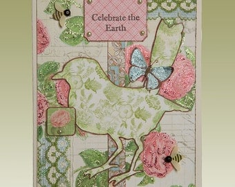 Celebrate The Earth, Graphic 45, Bird, Handmade, Card, Original, Gift, Vintage, Spring, Mixed Media, Nature, Flowers