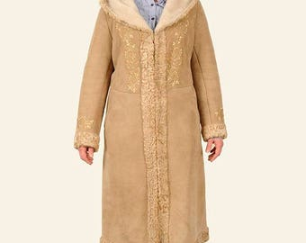 Ladies Hand Embroided Sheepskin Coat