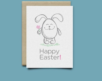 Super Cute Easter Bunny Egg Card / Funny Easter Cards / Greeting Card / Spring Card / Easter Gift / Just Because / Happy Easter / Easter Egg