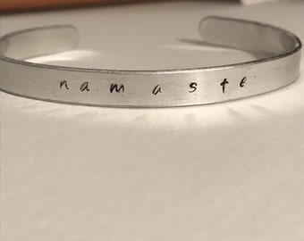 Namaste Cuff Bracelet, Mantra Bracelet